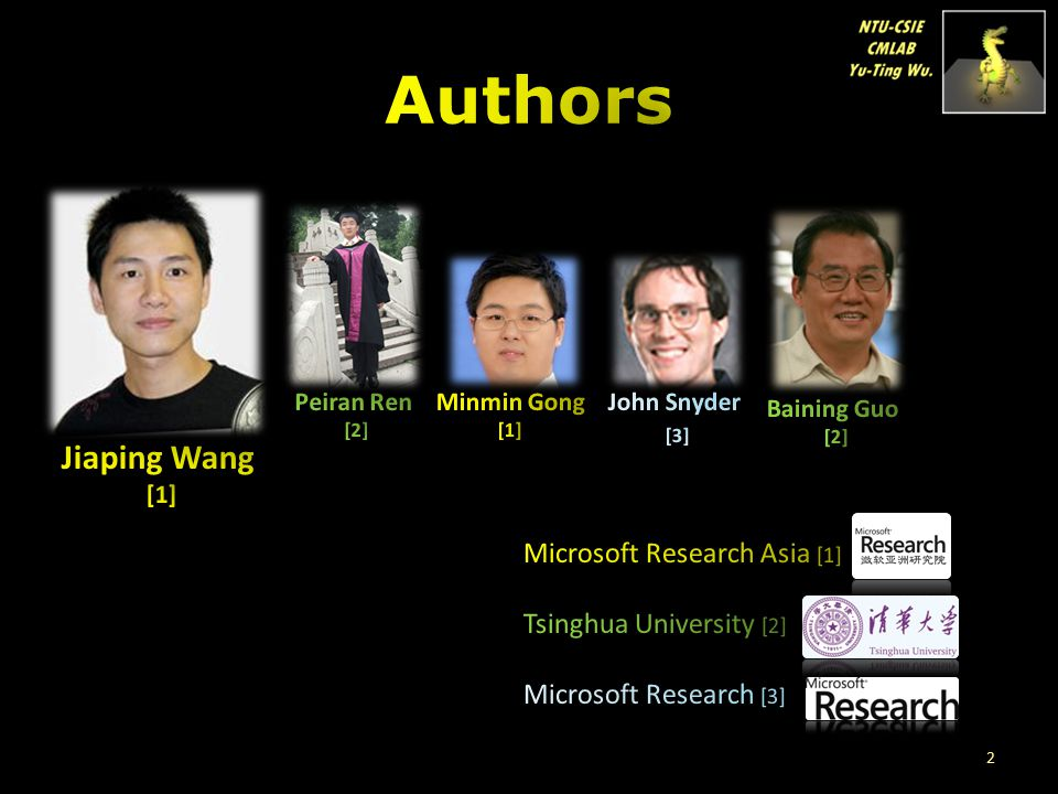 Authors Jiaping Wang Microsoft Research Asia [1]